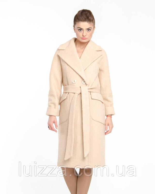 Женское пальто из кашемира букле 44-50р  беж  48