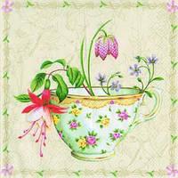 """Салфетка 33х33см (1шт) """"Чашка с цветами"""" кремовый"""