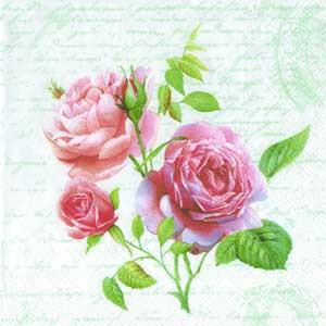 """Салфетка 33х33см (1шт) """"Любовное письмо и букет розовых роз"""""""