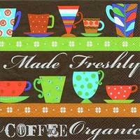 "Салфетка 33х33см (1шт) ""Кофейные чашки. FRESHLY MADE"" коричневый"