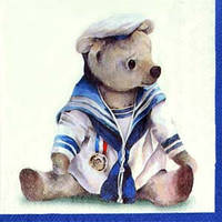 "Салфетка 33х33см (1шт) ""Медвежонок-моряк"" белый"