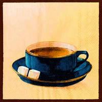 "Салфетка 33х33см (1шт) ""Чашка кофе"" синий"