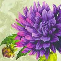 """Салфетка 33х33см (1шт) """"Пурпурная хризантема"""" кремовый"""