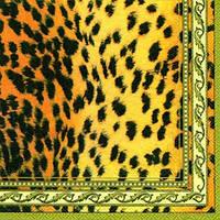 """Салфетка 33х33см (1шт) """"Леопардовый принт"""" кремовая"""