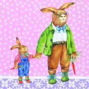 """Салфетка 33х33см (1шт) """"Семья зайцев"""" розовый"""