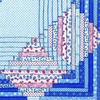 """Салфетка 33х33см (1шт) """"Узор в стиле """"Quilt"""" сине-красный"""