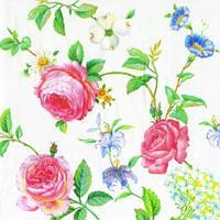 "Салфетка 33х33см (1шт) ""Цветы"" белый"