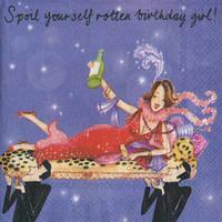 """Салфетка 25х25см (1шт) """"Девушка празднует день рождения"""" шуточная, сюжетная"""