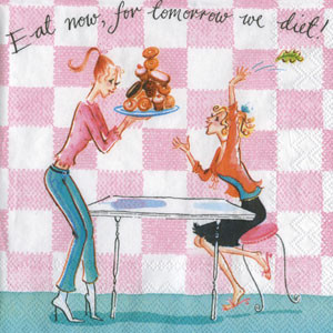 """Салфетка 25х25см (1шт) """"Девушки едят булочки"""" шуточная, сюжетная"""