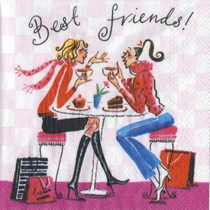 """Салфетка 25х25см (1шт) """"Лучшие подружки. Девушки-модници пьют кофе"""" шуточная, сюжетная"""
