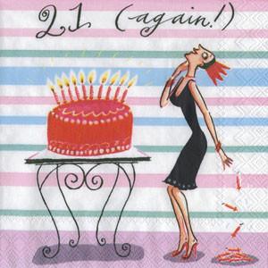 """Салфетка 25х25см (1шт) """"Снова 21. Дама убирает свечи с торта"""" шуточная, сюжетная"""
