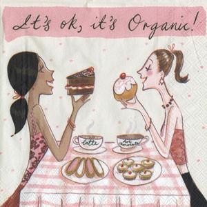 """Салфетка 25х25см (1шт) """"Все ОК! Девушки едят пирожные"""" шуточная, сюжетная"""