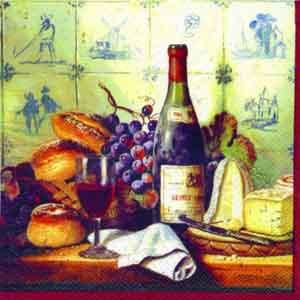 "Салфетка 25х25см (1шт) ""Вино,виноград,сыр,выпечка"" красный"