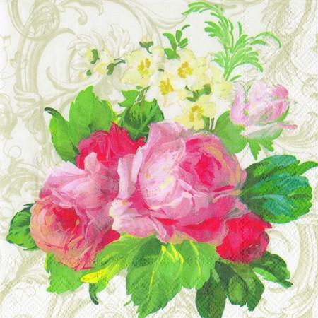 """Салфетка 25х25см (1шт) """"Розы и нарциссы"""" белый"""