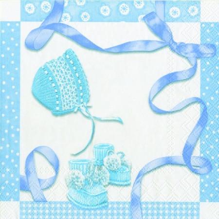 "Салфетка 25х25см (1шт) ""Подарки новорожденному"" голубой"