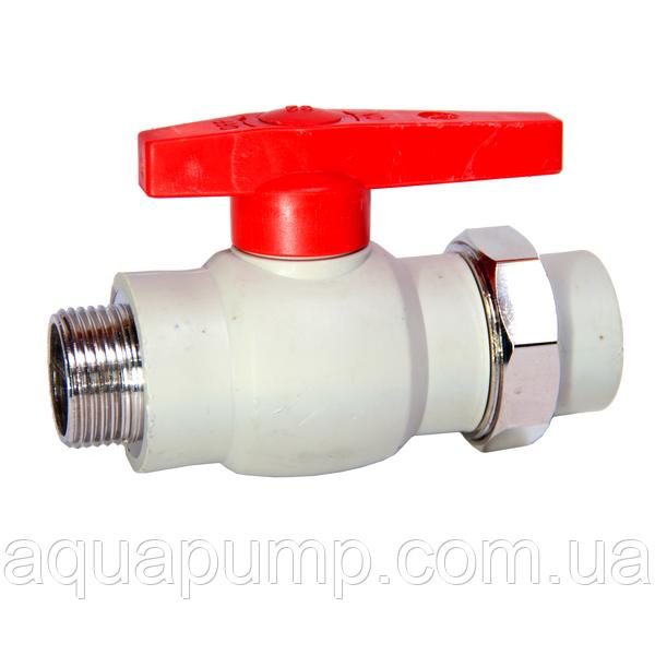 Кран шаровый PPR с НР 20 81/3 GRE Aqua Pipe