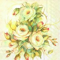 """Салфетка 25х25см (1шт) """"Нежные розы"""""""