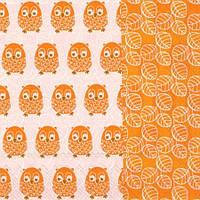 "Салфетка 33х33см (1шт) ""Забавные совы"" оранжевый"