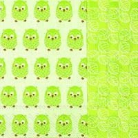 """Салфетка 33х33см (1шт) """"Забавные совы"""" светло-зеленый"""