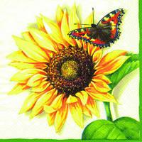 """Салфетка 33х33см (1шт) """"Подсолнух и бабочка"""" кремовый"""