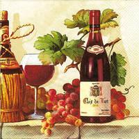 """Салфетка 33х33см (1шт) """"Вино,виноград"""" кремовый"""