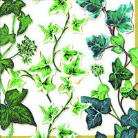 "Салфетка 33х33см (1шт) ""Зеленые побеги плюща"" белый"