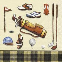 """Салфетка 33х33см (1шт) """"Все для гольфа"""" кремовый и черный"""