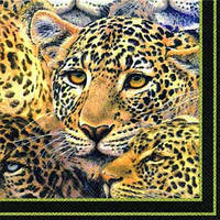 "Салфетка 33х33см (1шт) ""Леопарды"" черный"