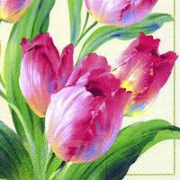 """Салфетка 33х33см (1шт) """"Тюльпаны.Цветение"""" кремовый"""