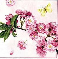"""Салфетка 33х33см (1шт) """"Ветвь цветущей вишни."""" белый"""