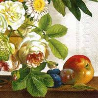 """Салфетка 33х33см (1шт) """"Натюрморт. Розы, фрукты"""" кремовый"""
