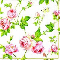 """Салфетка 33х33см (1шт) """"Плетение ветвей и розы"""" белый"""