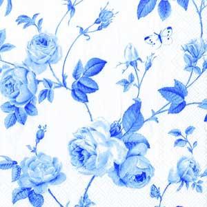 """Салфетка 33х33см (1шт) """"Плетение ветвей и розы"""" белый и голубой"""