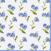 """Салфетка 33х33см (1шт) """"Голубые полевые цветочки"""" белый"""