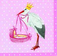 "Салфетка 33х33см (1шт) ""Аист с младенцем"" розовая"