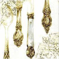 """Салфетка 33х33см (1шт) """"Столовые приборы"""" белое золото"""