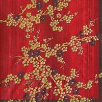 """Салфетка 33х33см (1шт) """"Ветви с цветами. Ханами"""" красный"""