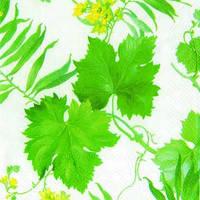 """Салфетка 33х33см (1шт) """"Изумрудные листья"""" белый"""