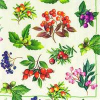 """Салфетка 33х33см (1шт) """"Лесные ягоды.Веточки"""" кремовый"""