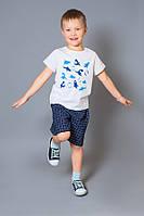 Шорты для мальчиков 3 - 8 лет 98-128 синий, клетка