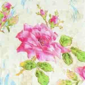 "Салфетка 33х33см (1шт) ""Роза"" кремовый"