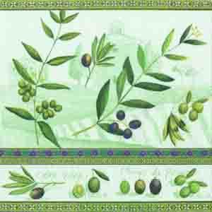 "Салфетка 33х33см (1шт) ""Оливки"" зеленый"