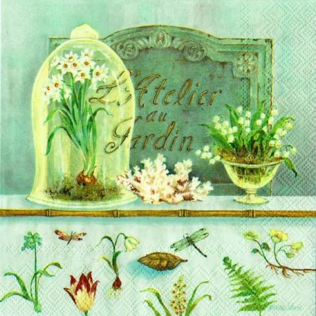 """Салфетка 33х33см (1шт) """"Весенние цветы"""" голубой"""