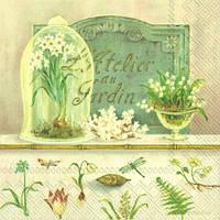 """Салфетка 33х33см (1шт) """"Весенние цветы"""" кремовый"""