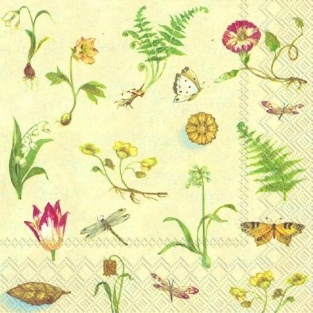 """Салфетка 33х33см (1шт) """"Цветы и листья"""" кремовый"""