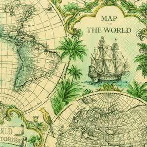 """Салфетка 33х33см (1шт) """"Карта мира"""" охра"""