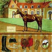 """Салфетка 33х33см (1шт) """"Лошадь, снаряжение жокея"""""""