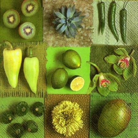 """Салфетка 33х33см (1шт) """"Экззотические фрукты и перцы"""""""