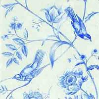"Салфетка 33х33см (1шт) ""Птицы на цветах"" голубой"