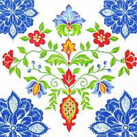 """Салфетка 33х33см (1шт) """"Тирольские узоры"""" голубой"""